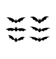 bats icon set bat black silhouette with wings vector image