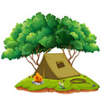 camping ground with tent and campfire vector image vector image
