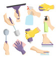 cleaning tools in housewife hand perfect for vector image