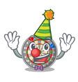 clown cartoon dartcoard next to wooden table vector image vector image
