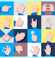 collection of icons with hand gestures vector image vector image
