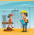 construction workers cartoons vector image vector image