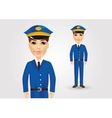 friendly postman in blue uniform vector image