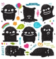 Funny Cute Little Black Monster Holiday Clip Art vector image vector image