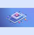 futuristic microchip processor digital chip vector image