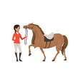 jockey girl and thoroughbred horse equestrian vector image vector image