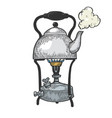 kettle pot in primus stove color sketch vector image vector image