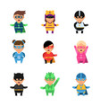 kids superheroes cartoon 2d game characters of vector image vector image