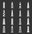 lighthouse icons set grey vector image