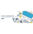 Lined fhotographer equipment on a table vector image vector image