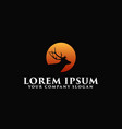 luxury deer with sun logo design concept template vector image