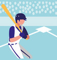 man playing baseball isolated icon vector image