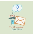 man with a question mark holds an envelope vector image