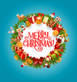 merry christmas gifts and presents frame vector image vector image