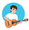 musician playing guitar asian boy guitarist is vector image vector image