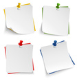 Note paper with push colored pin template vector image vector image