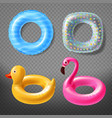 realistic rubber rings - duck pink vector image