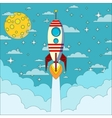 Rocket on the moon background vector image vector image