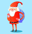 santa claus with hefty bag gifts on his back vector image