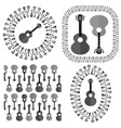 Set of Different Acoustic Guitars Silhouettes vector image vector image