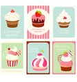 Set vintage vertical card with cupcakes