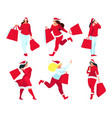 shopping buyers with shopping bags in hands vector image