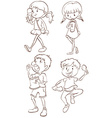 Simple sketches of kids taking their snacks vector image vector image