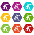 snowboarder icon set color hexahedron vector image vector image