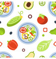 vegetarian food seamless pattern fresh bright vector image