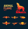 animal flame mascot set logo vector image vector image
