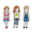 beautiful little girls cute children standing vector image