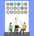 bitcoin currency idea of male conference vector image vector image