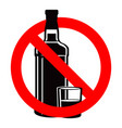 bottle alcohol drink and stemware in no allowed vector image vector image