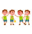 boy kindergarten kid poses set baby vector image vector image