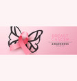 breast cancer awareness card pink ribbon butterfly vector image