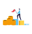 businessman with flag climbing chart bar vector image vector image