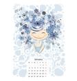 Calendar 2016 january month Season girls design vector image