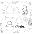 Camping pattern with equipment symbols vector image