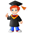 cartoon boy graduation giving thumbs up vector image vector image