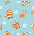 christmas cookies seamless pattern gingerbread vector image vector image