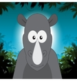 Cute cartoon rhino in front of jungle background vector image vector image