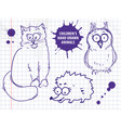 cute hand drawn cartoon cat owl hedgehog for vector image