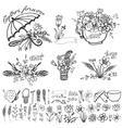 Doodle floral grouphand sketched element kit vector image