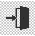 Door Exit sign Dark gray icon on transparent vector image vector image