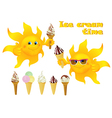 Funny cartoon sun with ice cream vector image vector image
