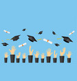 graduating students of pupil hands vector image vector image