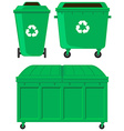 Green trashcans in three designs vector image vector image