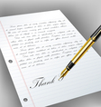 Handwritten letter with fountain pen vector image vector image