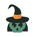 happy halloween green skull with witch hat trick vector image vector image
