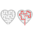 Heart shape maze with solution with and without